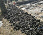 Ludzkie szczątki na placu budowy.